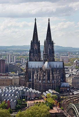 Break Of Day Photograph - Elevated View Of Cologne Cathedral by Allan Baxter
