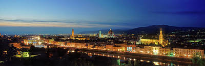 Elevated View Of Florence City Art Print by Panoramic Images