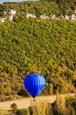 Chapelle Photograph - Elevated View Of Hot Air Balloon by Panoramic Images