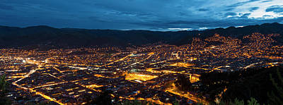 Cusco Photograph - Elevated View Of Illuminated Cityscape by Panoramic Images