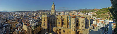 Malaga Province Photograph - Elevated View Of Malaga Cathedral by Panoramic Images