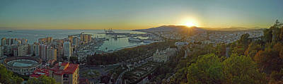 Malaga Province Photograph - Elevated View Of Malaga City by Panoramic Images