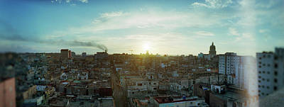 Elevated View Of Old Havana At Sunrise Art Print by Panoramic Images
