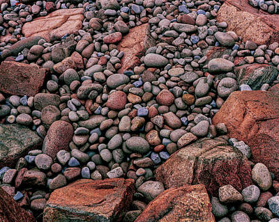 Maine Nature Photograph - Elevated View Of Stones On The Coast by Panoramic Images