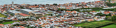 Sao Miguel Island Photograph - Elevated View Of Town On The Coast by Panoramic Images