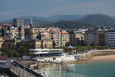 Pais Vasco Photograph - Elevated View Of Town Waterfront, San by Panoramic Images