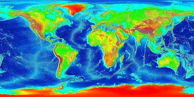Maps Photograph - Elevation Map Of The World by Sebastian Musial