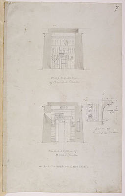 Religious Drawings Photograph - Elevation Of The Temple At Esneh by British Library