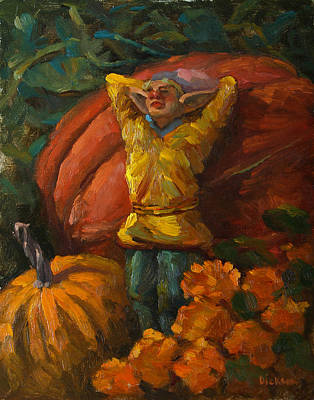 Painting - Elf In The Pumpkin Patch by Jeff Dickson