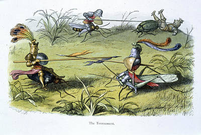Fairyland Photograph - Elf Knights Jousting by British Library