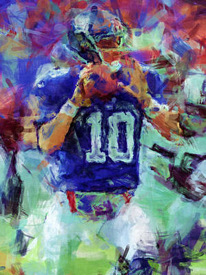 Eli Manning Abstract 1 Art Print by David G Paul