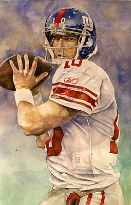 Eli Manning Art Print by Michael  Pattison