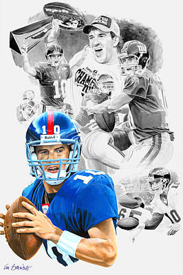 Eli Manning Mvp Art Print by Ken Branch
