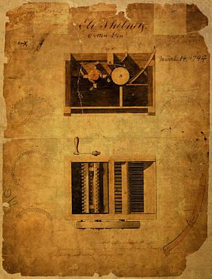 Eli Whitney Cotton Gin Patent Vintage On Worn Canvas Art Print