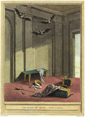 Handcolored Etching Drawing - Elie Du Mesnil After Jean-baptiste Oudry by Litz Collection
