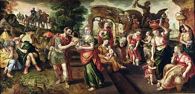 Eliezer And Rebecca At The Well, 1562 Oil On Panel Art Print by Maarten de Vos
