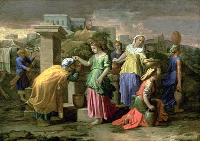 Eliezer And Rebecca At The Well Art Print by Nicolas Poussin