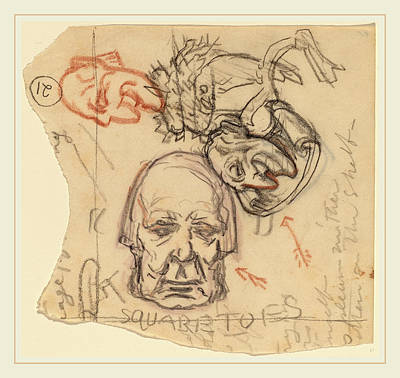 Self-portrait Drawing - Elihu Vedder, Self-portrait Caricatures by Litz Collection