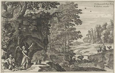 Water Jug Drawing - Elijah And The Angel, Herman Van Swanevelt by Herman Van Swanevelt And Charles Audran