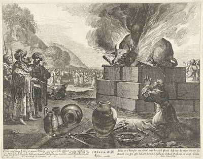 Religious Text Drawing - Elijah And The Prophets Of Bael, Pieter Nolpe by Pieter Nolpe And Claes Jansz. Visscher Ii