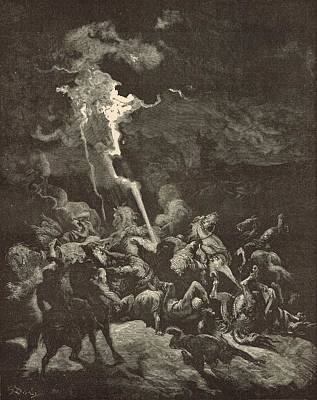 Scriptural Drawing - Elijah Destroying The Messengers Of Ahaziah by Antique Engravings