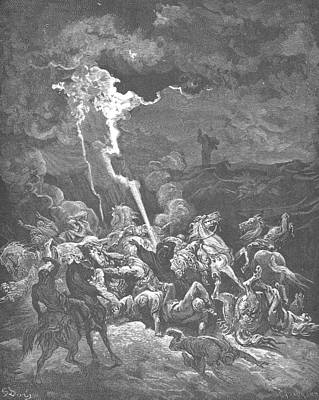 Elijah Destroys The Messengers Of Ahaziah Art Print by Gustave Dore