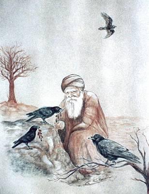 Elijah Fed By Ravens Art Print by Cati Simon