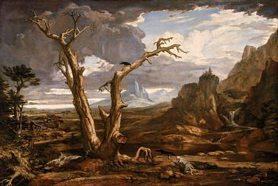 Bible Poster Painting - Elijah In The Desert by Washington Allston