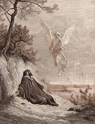Nourish Drawing - Elijah Nourished By An Angel by Litz Collection