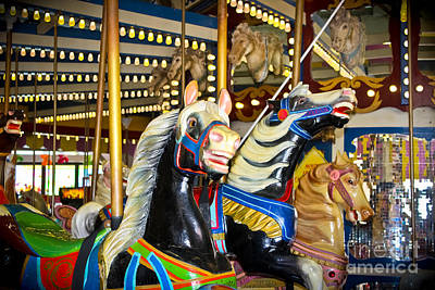 Elizabeth And Friends- Carousel Ponies Art Print by Colleen Kammerer