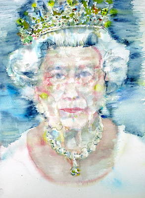 Queen Elizabeth Ii Painting - Elizabeth II - Watercolor Portrait by Fabrizio Cassetta