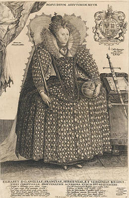 Ruff Drawing - Elizabeth, Queen Of England, C.1603 by Crispin I de Passe