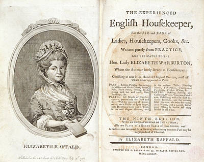 Cookbooks Photograph - Elizabeth Raffald by British Library