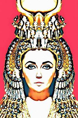 Pharaoh Mixed Media - Elizabeth Taylor Alias In Cleopatra by Art Cinema Gallery