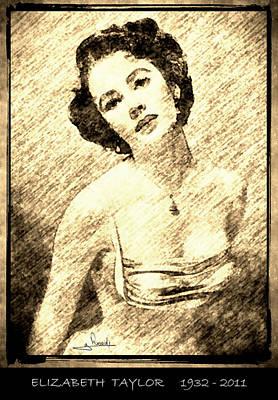 Elizabeth Taylor Drawing - Elizabeth Taylor by George Rossidis