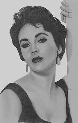 Liz Taylor Drawing - Elizabeth Taylor by Gil Fong