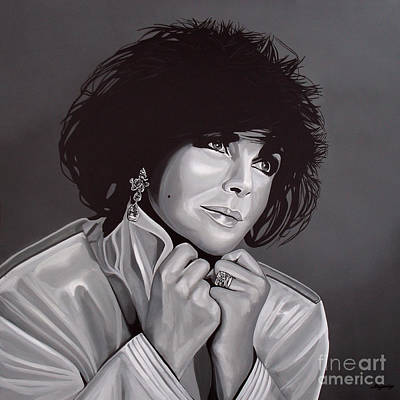 Black And White Art Painting - Elizabeth Taylor by Paul Meijering
