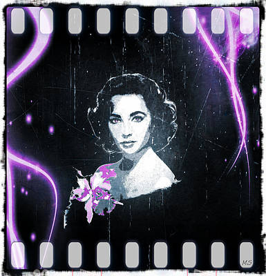 Digital Art - Elizabeth Taylor - Purple Film by Absinthe Art By Michelle LeAnn Scott