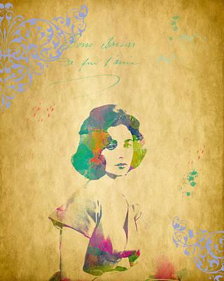 Digital Art - Elizabeth Taylor - Scatter Watercolor by Paulette B Wright