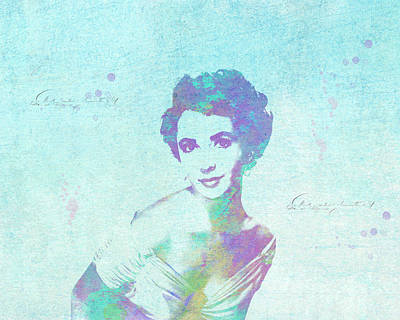 Digital Art - Elizabeth Taylor Watercolor by Paulette B Wright