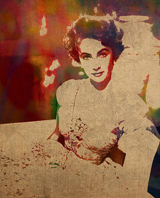 Actors Mixed Media - Elizabeth Taylor Watercolor Portrait On Worn Distressed Canvas by Design Turnpike