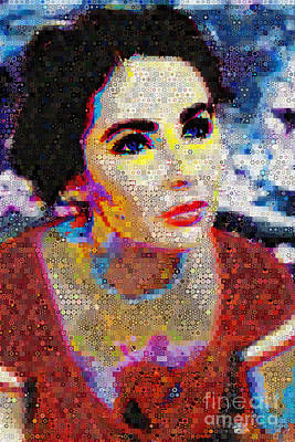Montage Mixed Media - Elizabeth Taylor_abstract_ Collage by Johnlijo Bluefish