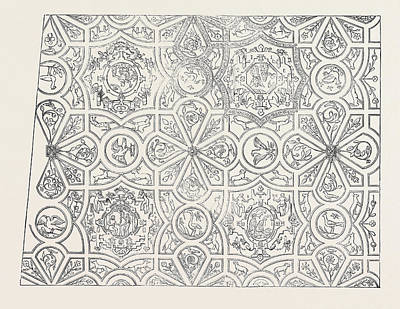Elizabethan Ceiling At The Red Lion Inn Art Print by English School