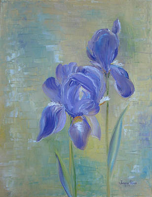 Art Print featuring the painting Elizabeth's Irises by Judith Rhue