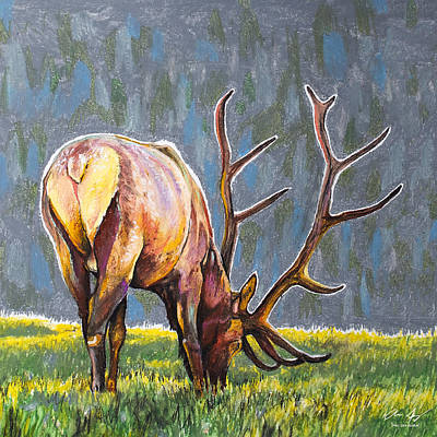 Grazing Elk Painting - Elk by Aaron Spong