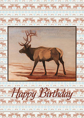 Painting - Elk Birthday Card by Ruth Soller