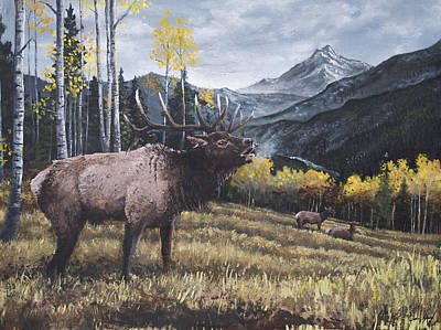 Bucking Bull Painting - Elk Bugle by Aaron Spong
