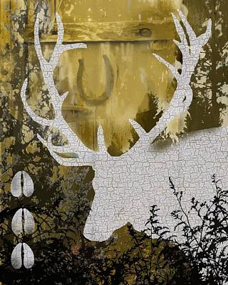 Elk Photograph - Elk Collage In Gold by Sharon Marcella Marston