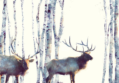 Birch Trees Painting - Elk // Follow by Amy Hamilton