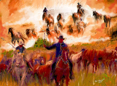 Montana Digital Art - Elk Horse Round Up by Ted Azriel